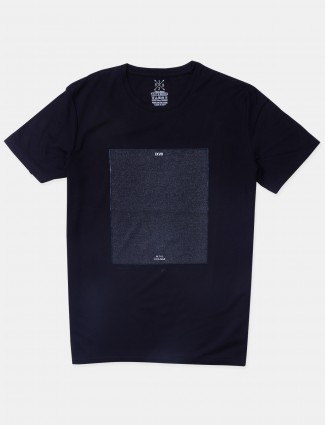 Fritzberg solid style black slim-fit cotton t-shirt