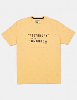 Fritzberg yellow printed mens cotton t-shirt