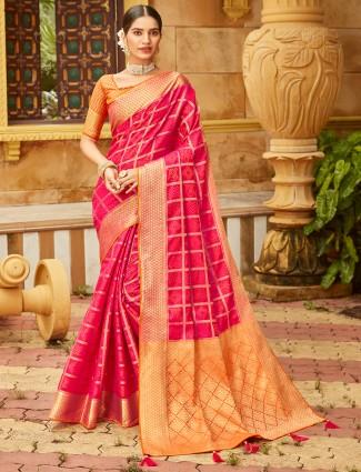 Fuchsia magenta soft silk wedding wear saree