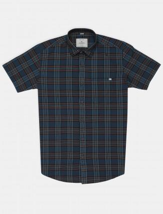 Gainti checks blue cotton casual slim fit shirt
