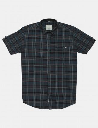 Gainti checks grey cotton casual wear shirt