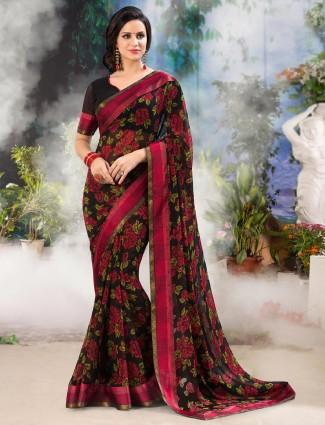 Gallant black printed georgette saree for festive wear