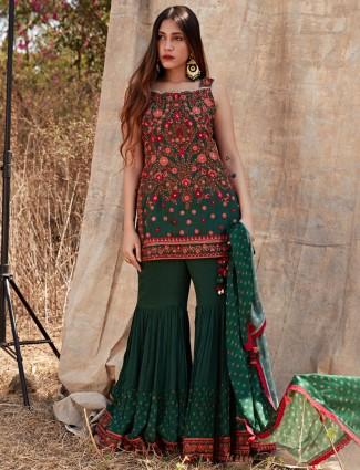 Gallant bottle green cotton sharara style salwar suit