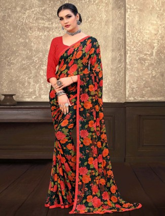 Gallant bottle green printed georgette saree for festive