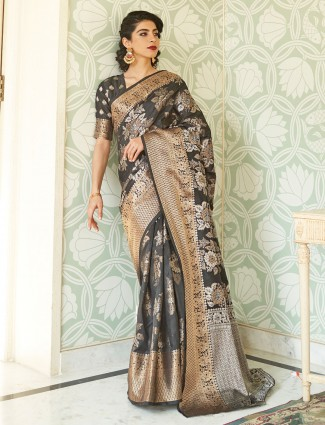 Gallant grey banarasi silk saree for wedding functions