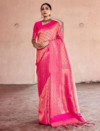 Gallant magenta kanjivaram silk saree for wedding functions