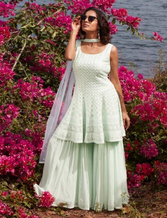 Gallant pista green georgette punjabi style wedding wear sharara suit
