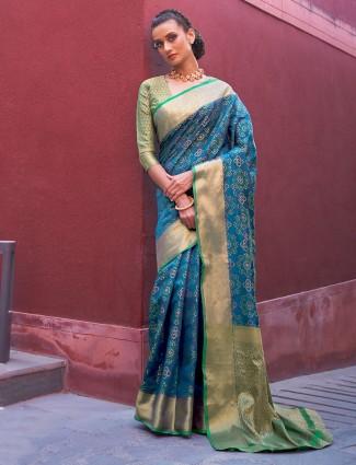 Gallant powder blue banarasi bandhej silk saree for wedding functions