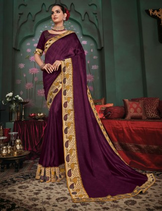Gallant purple silk festive wear sari