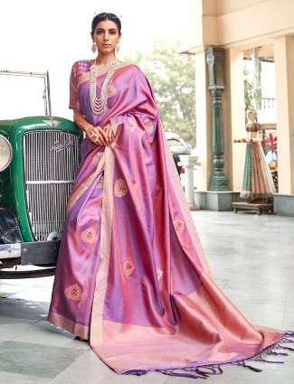 Gallant violet banarasi silk saree for wedding functions