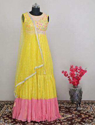 Georgette anarkali suit in yellow color for wedding occasions
