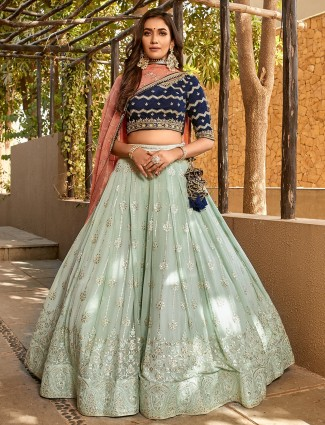 georgette aqua designer wedding wear lehenga choli