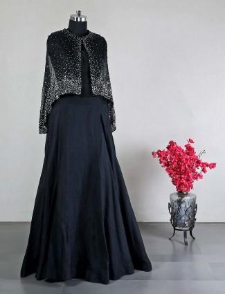 Georgette black wedding wear lehenga choli