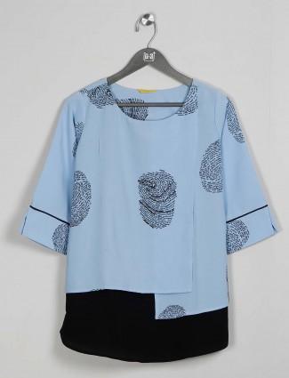 Georgette blue casual wear top