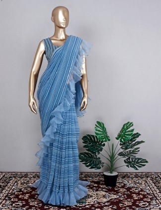 Georgette blue saree for festive wear with ready made blouse