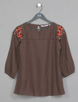 Georgette casual wear gorgeous brown top for women