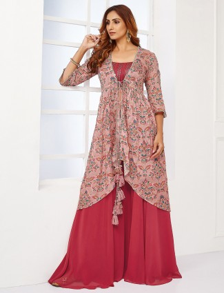 Georgette coral pink festive wear palazzo suit