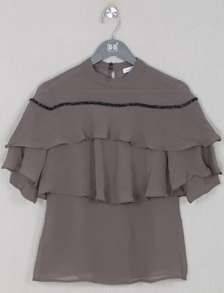 Georgette dark grey casual wear top