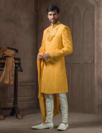 Georgette designer yellow wedding occasion indo western