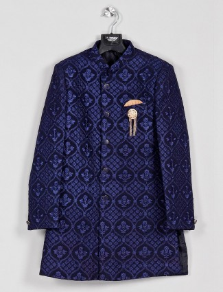 Georgette fabric dark blue color indo western
