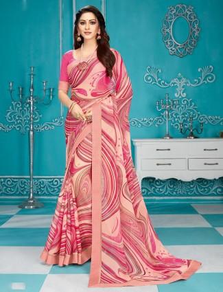 georgette festive wear peach printed saree