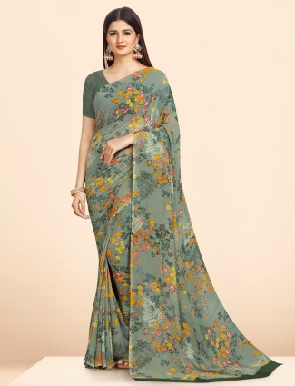 Georgette floral printed saree in mint green