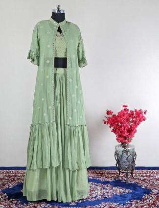 Georgette green wedding lehenga style suit