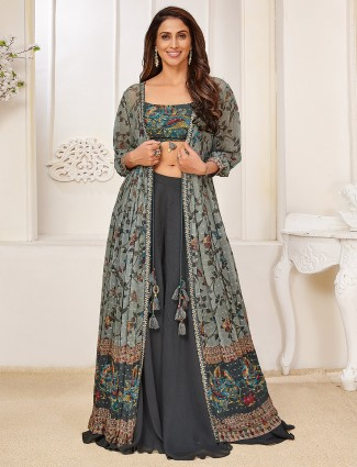 Georgette grey palazzo suit for festive