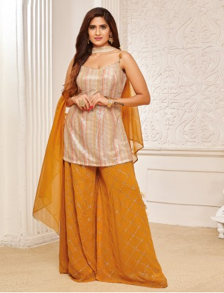 Georgette honey yellow palazzo suit for festive