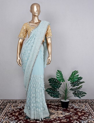 Georgette light blue festive wear saree with ready made blouse
