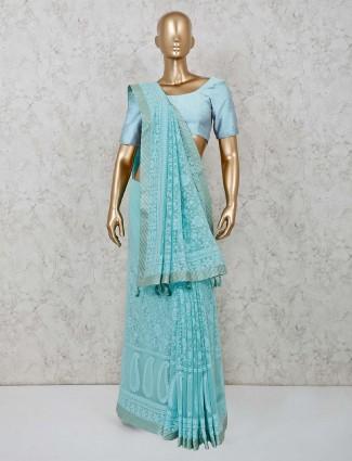 Georgette lucknowi saree in sky blue color