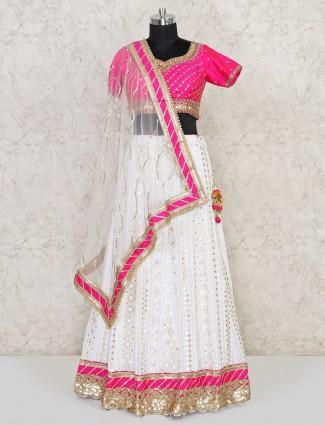 Georgette magenta and white lehenga choli suit