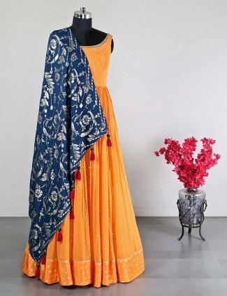 georgette orange anarkali suit for wedding