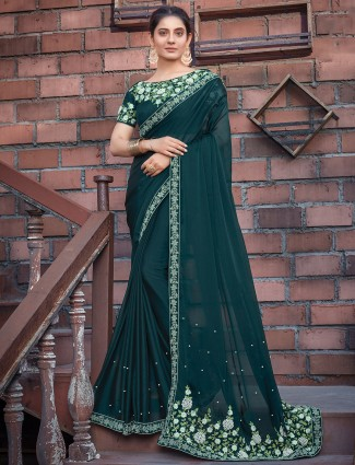Georgette peacock green saree for wedding functions
