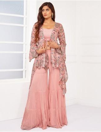 Georgette pink festive wear palazzo suit