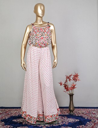 Georgette pink jumpsuit style suit for wedding event