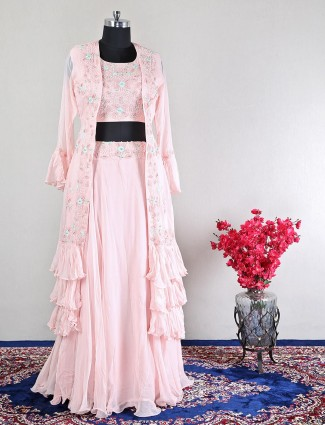 Georgette pink wedding lehenga style suit