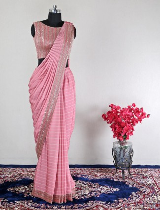 Georgette pink wedding ready to wear saree