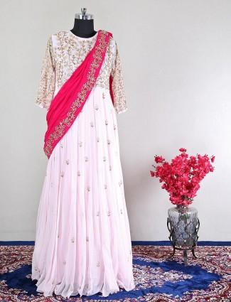 Georgette pink wedding wear anarkali suit