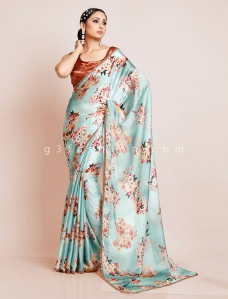 Georgette printed sea green saree with readymade blouse