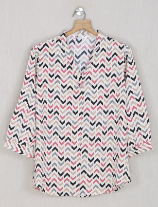 Georgette printed white amazing top for casual wear