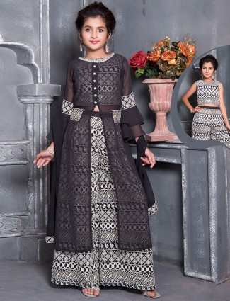 Georgette quarter sleeves palazzo suit in grey