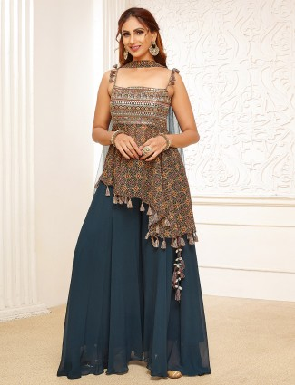 Georgette rama blue palazzo suit for festive