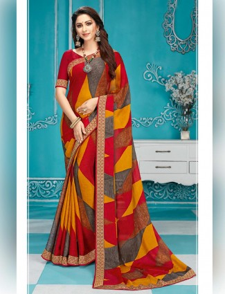 georgette red printed saree for festive
