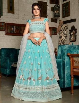 Georgette sky blue wedding occasions lehenga choli for women