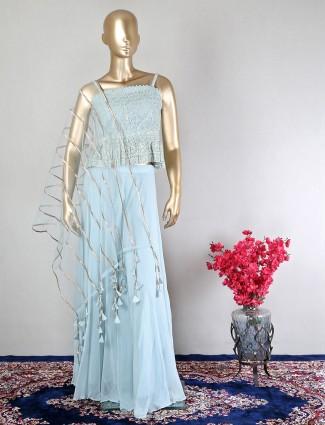 Georgette sky blue wedding wear palazzo suit