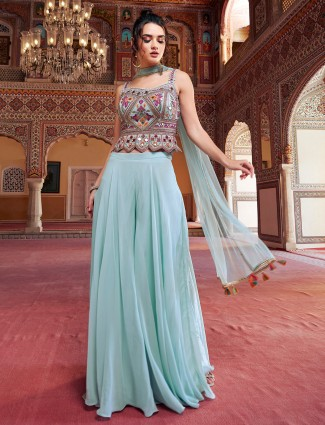 Georgette stone blue punjabi style palazzo suit for wedding events
