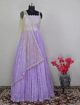 Georgette stunning lavender blue wedding wear anarkali suit