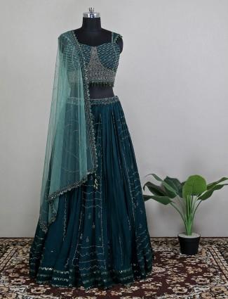 Georgette wedding event lehenga choli in attractive green