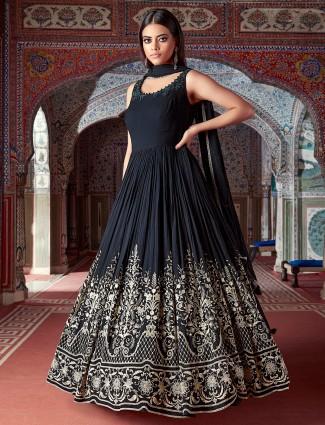 Georgette wedding sessions black floor-length anarkali suit